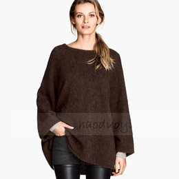 Poncho En Tricot Brun Pas Cher-1601 Poncho femmes Batwing Womens manches Poncho tricoté Vêtements automne 2015 European Style Taille XS XXLHaoduoyi Brown Poncho femmes