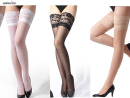 Grosse Fourre Porte Pas Cher-Wholesale-Womdee Femmes Classy Sheer Lace Elastic Long Thigh High Hosiery Leggings