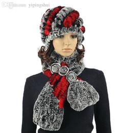 Rabbit Fur Scarves Caps Australia - Wholesale-H288-Soft winter cap for women,natural rex rabbit fur knitted autumn winter hat and scarf sets
