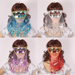 $enCountryForm.capitalKeyWord Canada - Belly Dance Sexy sequin veil Mask Color PVC Lace Secret Women Princess Mask with Veil Masquerade Party Decoration Halloween Party Mask B281