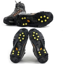Discount spiking hair - 10 tacks teeth spikes Anti-slip Ice Grip Ice Rubber Magic Spike Winter Walking Sports anti-slip overshoes outdoor shoes