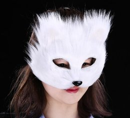 Discount hairy toys - Masquerade mask hairy fox men and women half face props toy party mask white red gray G1172