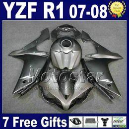 Yzf R1 Tank Canada - Metallic Gray INJECTION Fairing kit + tank cover for YAMAHA R1 2007 2008 yzf r1 07 08 fairings 3G61