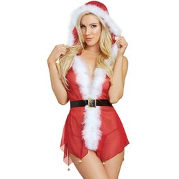 Sex Underwear Christmas Lingerie Sexy Hot Erotic Adult Deep V Perspective  Mesh Dress Red Costume 413737169