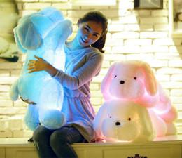 Wholesale-50cm Auto 7 Color glowing dogs luminous Stuffed lighting LED plush Glow Rotation Illuminated Pillow light Gift Teddy Dog Puppy on Sale