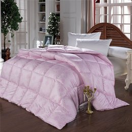 $enCountryForm.capitalKeyWord NZ - Wholesale- European Edredon funda 100% goose down comforter double feather quilt bedding filling pure pink white duvet warm and thick