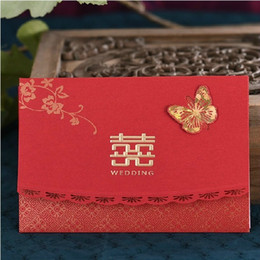 Chinese Traditional Wedding Invitations Cards Free Black Laser Cut Butterfly Invites Card With Envelopes As Decoration
