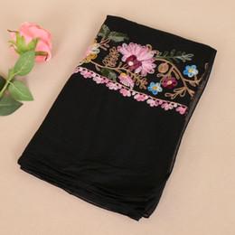 $enCountryForm.capitalKeyWord NZ - 2017 new design women floral embroidery cotton hijab bohemian shawls summer muslim wraps long muffler scarves scarf 180*90cm BS437
