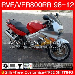 honda vfr interceptor fairings NZ - VFR800 For HONDA Interceptor red Silver VFR800RR 98 99 00 01 02 03 04 12 90NO50 VFR 800 RR 1998 1999 2000 2001 2002 2003 2004 2012 Fairing
