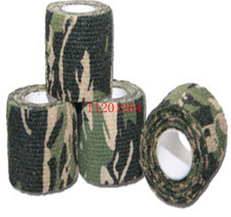 Wholesale Free Shipping Fashion self adhesive elastic bandage Army Camo Wrap Rifle Shooting Hunting Camouflage cohesive Tape 4.5m