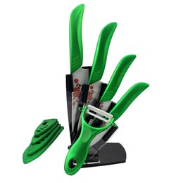 """$enCountryForm.capitalKeyWord Canada - Beauty Gifts Zirconia green light kitchen Ceramic fruit Knife Set 3"""" 4"""" 5"""" 6"""" inch with Flower painted+ Peeler+Covers+Holder Kitchen Knives"""