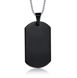 Dog Plates Canada - High Polish Black Enamel Plated Stainless Steel Dog Tag Pendant DIY Name Necklace Husband Wife Friendship Gift Free Chain