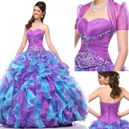 Morceaux De Dentelle Corset Pas Cher-Purple Ball Gown Robes de bal avec la veste Pageant Quinceanera Robes Plis Sweetheart Crystal Corset Lace Up Back Ruffle Robes de bal