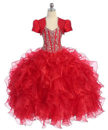 $enCountryForm.capitalKeyWord Canada - Christmas Gowns 2019 Organza National Girls Pageant Dresses with Jacket Real Picture Flower Girl Gown with Beads Floor Length Junior Dress