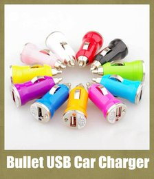 Discount mini universal usb adapter - Mini USB Car Charger Auto Power Adapter colorful universal Bullet car plug for Apple iPhone 5 5s 4 4s SamSung HTC LG cel