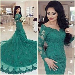 MusliM bridal evening gowns online shopping - 2018 Green V neck Mermaid Dubai Long Court Train Islam Appliques Long Sleeve Muslim Evening Dresses Bridal Gowns Vestidos
