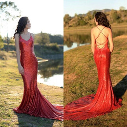 $enCountryForm.capitalKeyWord Australia - 2018 Hot Sale Sexy Red Prom Dresses Spaghetti Straps Mermaid Long Backless Sequin Evening Gowns For Party