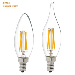 $enCountryForm.capitalKeyWord Canada - LED Filament Candle Bulb 2200K Dimmable E12 E14 Base 2W 4W LED Filament Candle Bulb C35 C35T Flame Tip Chandelier