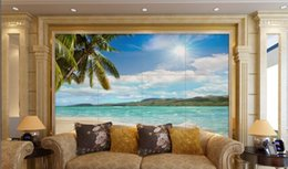SunShine houSe online shopping - 3d room wallpaper custom photo non woven mural Sunshine coast coconut tree sea scene painting picture d wall murals wallpaper for walls d