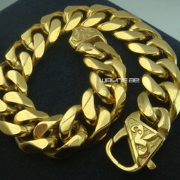 Cool Top Quality Gold Plated Mens Stainless Steel Curb Bracelet Bangle B154