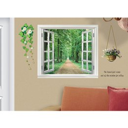 China DIY Wall Stickers 3D Beautiful Window View of Forest Alley Wallpaper Art Decor Mural Kids Room Decor Home Decoration Removable cheap living room window decor suppliers