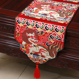 $enCountryForm.capitalKeyWord NZ - Unique Kirin Table Runners Chinese Ethnic style Cover Cloth High-density Thick Silk Brocade Coffee Table Cloth Wedding Reception Decorations