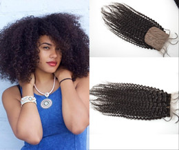 Natural humaN hair afro pieces online shopping - Silk Base Chinese Afro kinky Lace Closure with baby Hair Virgin Unprocessed Human Hair Weave Pieces Natural Color G EASY Top Quality