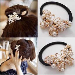 Wholesale SALE style Hot Pearl Butterfly Bungees Elastic hair Bands brand Women Hair Accessories hair ropes
