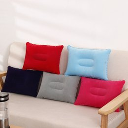 Air Camping Car Canada - Free shipping Outdoor Pads Double Sided Flocking Camping Travel Inflatable Pillow Portable Suede Fabric Folding Pillow Plane Hotel Cushion