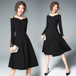 Barato Barato Preto Vestidos Casuais-Cheap christmas Women Hepburn Dresses Black Retro Casual Party Robe Rockabilly Vintage Plus Size Vestidos O grande balanço