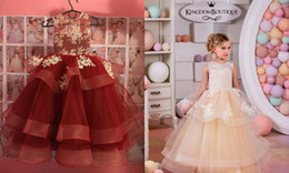 Robe De Soirée Pas Cher-Vraies Photos Flower Girl Robes Pour Le Mariage Fatigué Fines Sheer Jewel Neck Dentelle Filles Pageant Robe Applique De Noël Robe Pour Fille Kid Formel