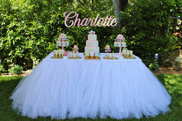 cheap custom wedding cake toppers Australia - Pure White Table Tutu Skirt Wedding Decorations Tulle Table Cloth Custom Made By Factory High Quality Cheap Table Skirting For Party