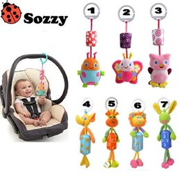 hanging baby toy wind chime Canada - Wholesale-Sozzy Queen baby toy bed hanging plush doll Bell wind chimes animal wind chime rattles & mobiles