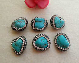 10 Unids Cuentas de Piedra Druzy Turquesa Natural Con Pave Rhinestone Crystal Connector Spacer Beads Para DIY Fabricación de la pulsera necklaceJewelry SC4 en venta