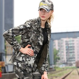 Barato Jaqueta De Moda Militar Mais Quente-Free Army Brand Hot Sale New Fashion Streetwear Casual Zipper Slim Cool Mulheres Jacket Outerwear Camouflage militar jaqueta mulheres GS-8253B