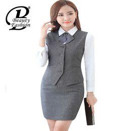 China Wholesale-Women Suit Vest 2016 New Fashion Women Solid Suit Waistcoat Female Business Formal Vest Jackets Office Lady Work Suit Vest 3XL cheap office ladies jacket suits suppliers