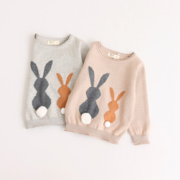 Barato Blusas De Malha-New Kids Sweater Winter Spring Baby Kids Sweater de malha Top Girls Rabbit Sweaters Top 2 Colors