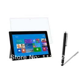 Screen Lcd Protector Canada - Wholesale-New Glossy Clear LCD Screen Protector Film Films Guards + Stylus Pen for Microsoft surface RT   2 RT2 10.6inch Free Shipping