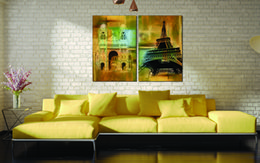 canvas church paintings Canada - 2 Pieces Free shipping Home decoration Paint on Canvas Prints Temple church Eiffel Tower Ollie PEAK Big Ben Pisa Architecture lighthouse