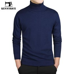 Pull À Manches Longues Pas Cher-Gros-Kenntrice Turtleneck Pulls Hommes Solide À Manches Longues Pulls Hommes Chandail Tricots Pulls Jersey Hombre Pas Cher Hiver Pulls