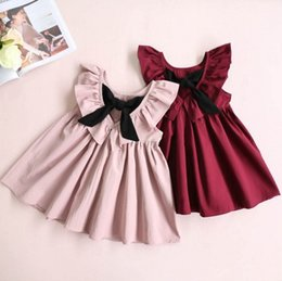 girls pleated skirts NZ - Baby girls cotton dress V neck backout girl princess skirts kids children vest skirt pleated bowknot dresses