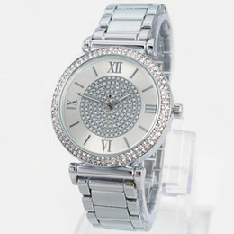 China Hot Sale Silver Gold Watch Women Luxury Brand Hot Sale Ladies Wristwatches Gifts For Girl Full Stainless Steel Rhinestone Quartz Watch cheap round lady luxury watches suppliers