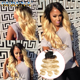 Discount virgin hair weave bundle tones - Ombre Blonde Color Brazilian Virgin Hair Bundles #1B 613 Human Body Wave Hair Bundles Double Wefted Two Tone Hair Weaves