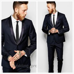 $enCountryForm.capitalKeyWord Canada - 2016 New Slim Fit Navy Mens Suits Shawl Lapel Groom Tuxedos Two Buttons Wedding Suits Prom Casual Jacket (Jacket+Pants+Tie)