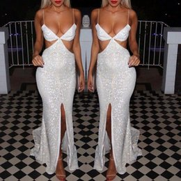 Discount formal dresses spaghetti straps - Sexy Spaghetti Straps V Neck Women Formal Evening Dresses Blingbling Backless High Split Celebrity Party Runway Fashion