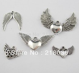 Wings For Making Jewelry Canada - Vintage 100Pcs Mixed Tibetan Silver Wings Charms Pendants For Bracelet Necklace Jewelry Findings Making Beads DIY Accessories M172