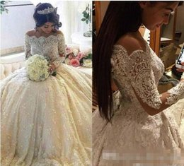 Vintage Natural Pearls NZ - 2017 Vintage Full Lace Princess Wedding Dresses Off Shoulder Bateau Long Sleeves Ball Gown Bridal Gowns With Beaded Pearls Court Train