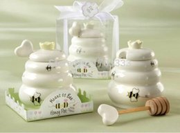"""$enCountryForm.capitalKeyWord UK - Free shipping 100pcs lot """"Meant to bee"""" Ceramic Honey Pot with Wooden Dipper wedding baby shower party supplies 0915#15"""