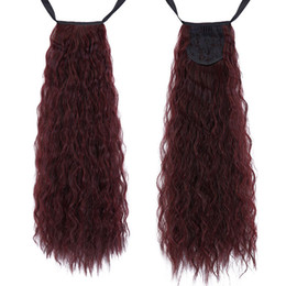 $enCountryForm.capitalKeyWord UK - 2017 Long Kinky Curly Ponytail For Black Women Wine Red Pony Tail Heat Resistant Synthetic Ponytail Fake Hair Pieces