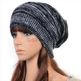 Discount cable knit caps - Trendy Warm Soft Stretch Cable Knit Slouchy Beanie Skull Caps Oversize Women And Men Knit Hats 4 Colors
